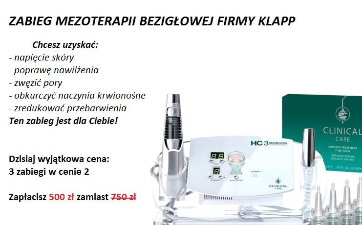 Zabieg mezoterapii bezigłowej firmy Klapp