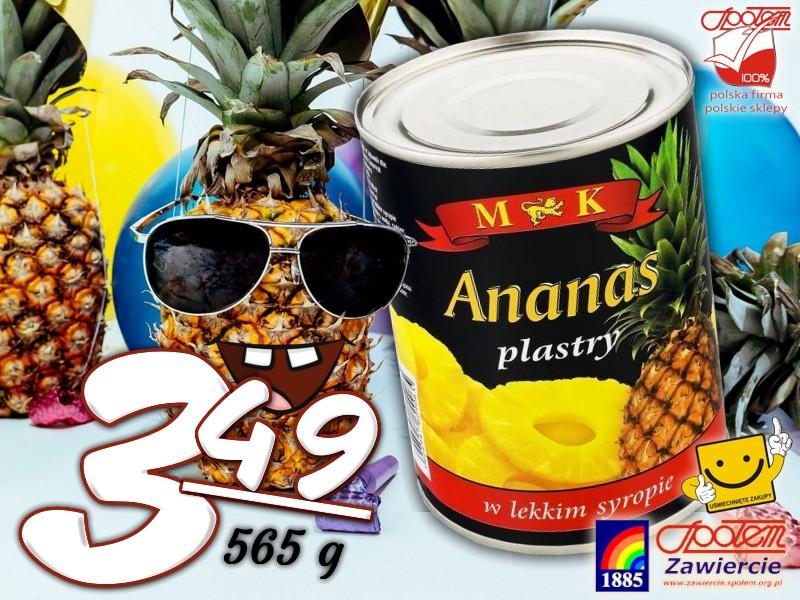 Ananas plastry 565g